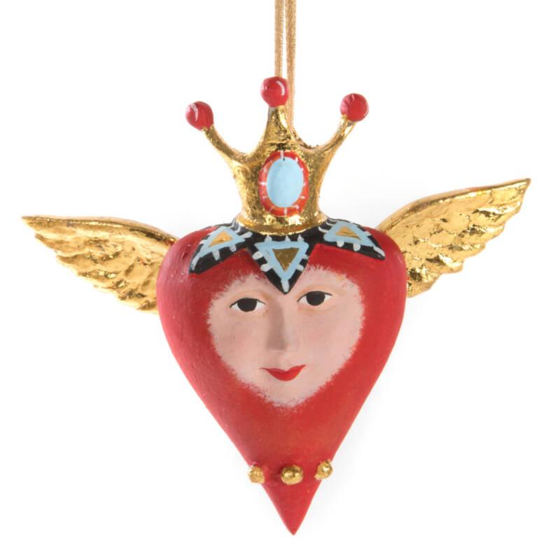 Ludibrium-Mini Weihnachtsornament Herz mit Krone und Flügeln