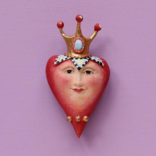 Krinkles - Mini Weihnachtsornament Herz mit Krone und Flügeln