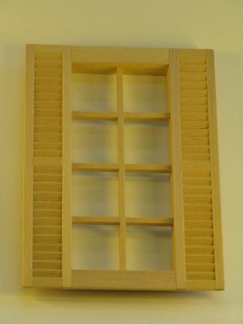 Mini Mundus - 8tlg. Sprossenfenster mit Fensterläden 1:12