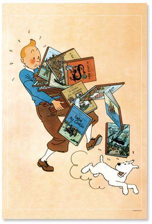 """Poster Tim """"Bücherstapel"""" / Tintin """"tenant les albums"""""""
