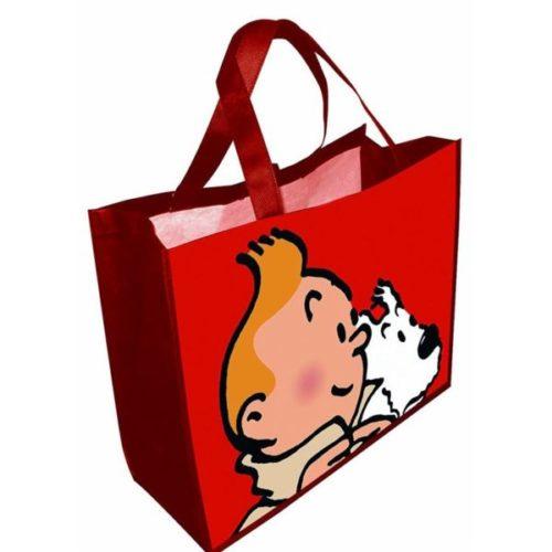Kunststofftasche Tim und Struppi rot