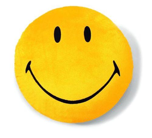 Nici - Kissen Smiley, Plüsch, rund, Durchmesser 42 cm, gelb
