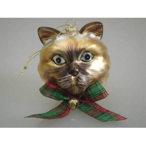 Ludibrium-Baumschmuck - Glasornament - Katzenkopf braun/schwarz mit blauen Augen