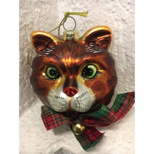 Ludibrium-Baumschmuck - Glasornament - Katzenkopf braun mit Glöckchen