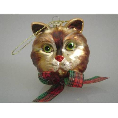 Ludibrium-Katzenkopf braun/beige mit grünen Augen