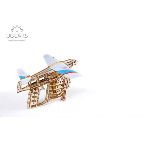 UGEARS 70075 - Flugzeugstarter - mechanischer Holzbausatz