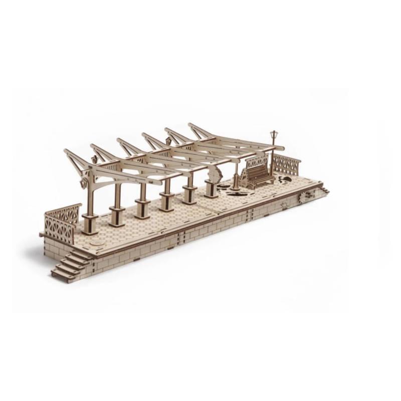 UGEARS 70013 - Bahnsteig - mechanischer Holzbausatz