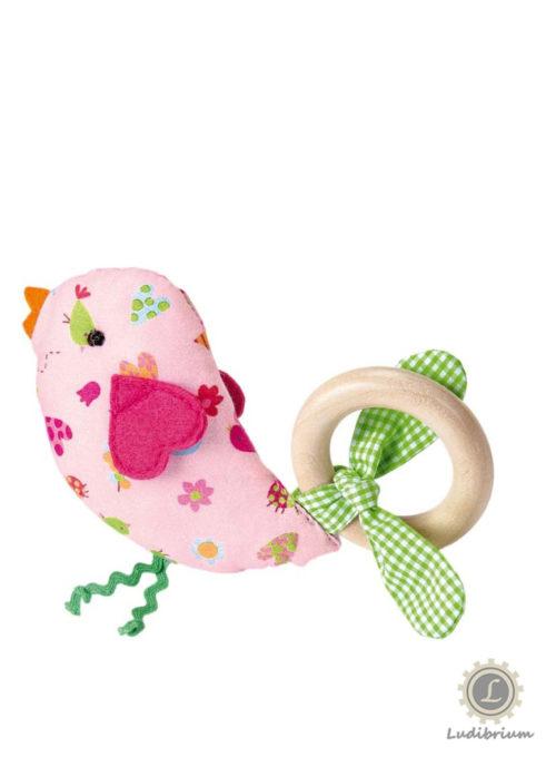 Käthe Kruse 74442 - Holzgreifring Vogel 14 cm rosa