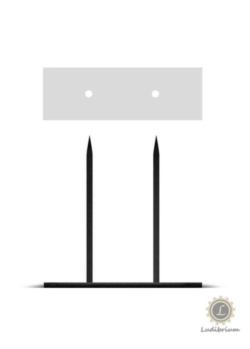 Powertex - Metallsockel schwarz mit 2 Steckspitzen, 10 x 20 cm, Höhe 20 cm
