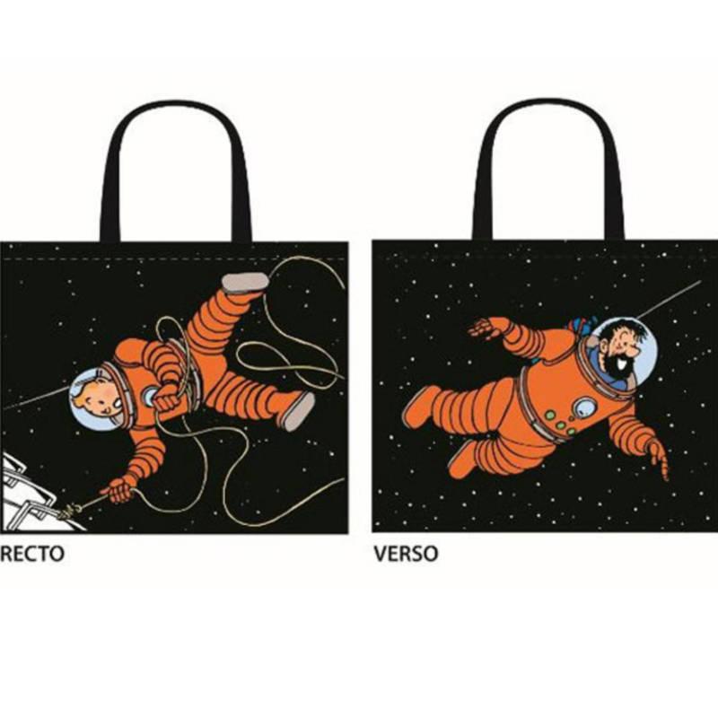 Kunststofftasche Tim und Haddock - Sac semi impermeable Tintin et Haddock lune