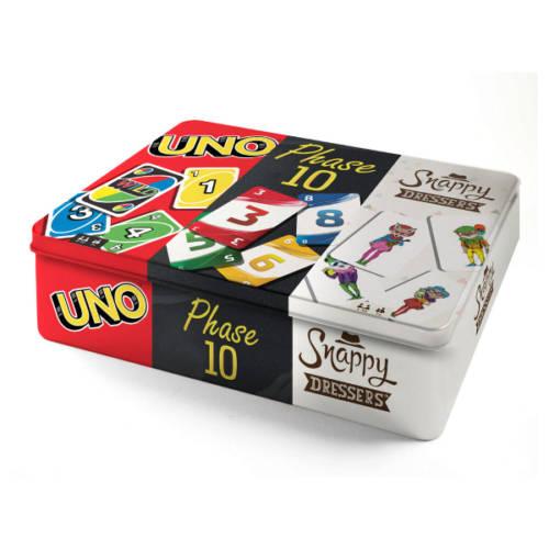 Kartenspiel-Klassiker 3 in 1 in Metalldose, UNO, Phase 10 und Snappy - Mattel Games
