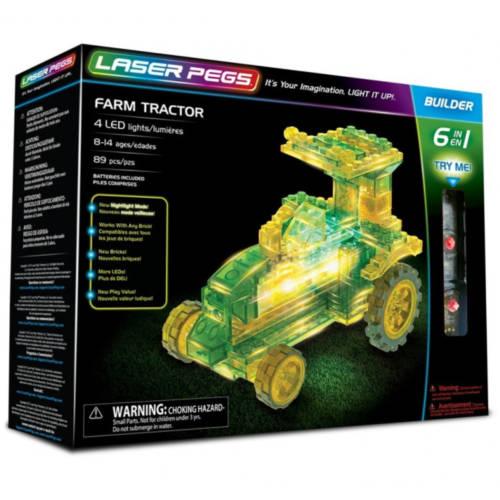 Ludibrium-Laser Pegs - Farm Tractor - 6 in 1 - Klemmbausteine