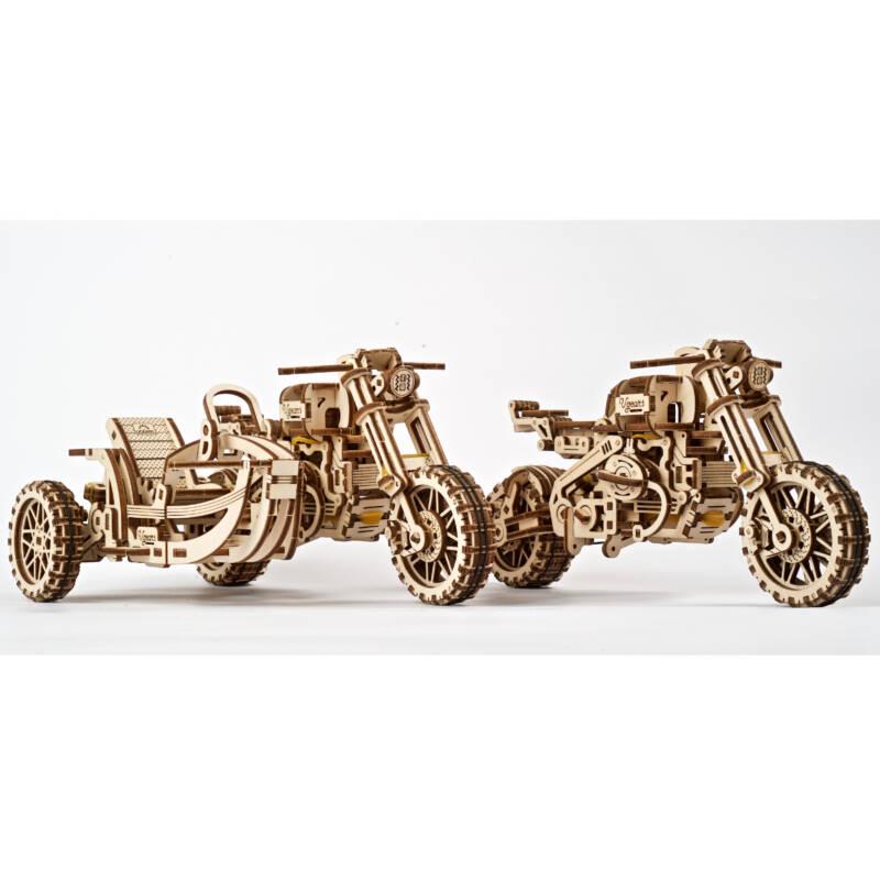 Ludibrium-UGEARS 412113 - Scrambler UGR-10 mit Beiwagen - 3-D Holzspielzeug