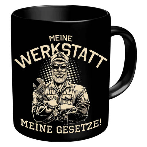 Ludibrium-RAHMENLOS® - Kaffeebecher für den Mechaniker und Schrauber - meine Werkstatt, meine Gesetze!