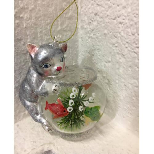Ludibrium-Baumschmuck - Glasornament - Katze grau mit Fischglas