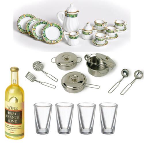Geschirr, Gläser, Pfannen und Besteck etc.