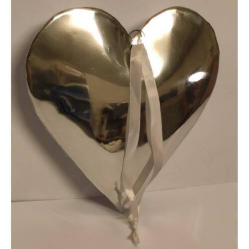 Ludibrium-Baumschmuck - Dekoartikel - silbernes Herz gross aus Metall