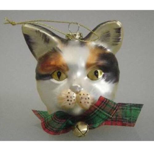Ludibrium-Baumschmuck - Glasornament - Katzenkopf weiss/braun/schwarz mit gelben Augen