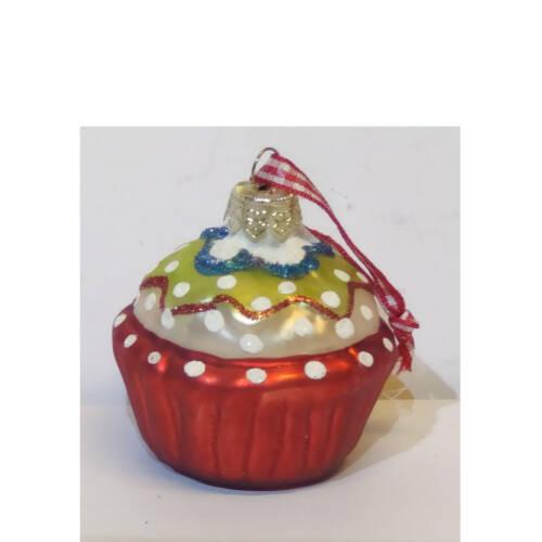 Ludibrium-Baumschmuck - Glasornament - Cupcake rot