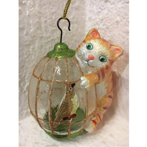 Ludibrium-Baumschmuck - Glasornament - Katze rotbraun mit Vogelkäfig