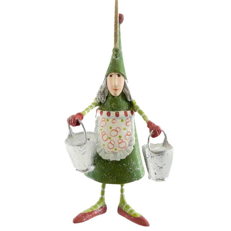 Ludibrium-Krinkles - Mini Maid a milking Christmas Ornament