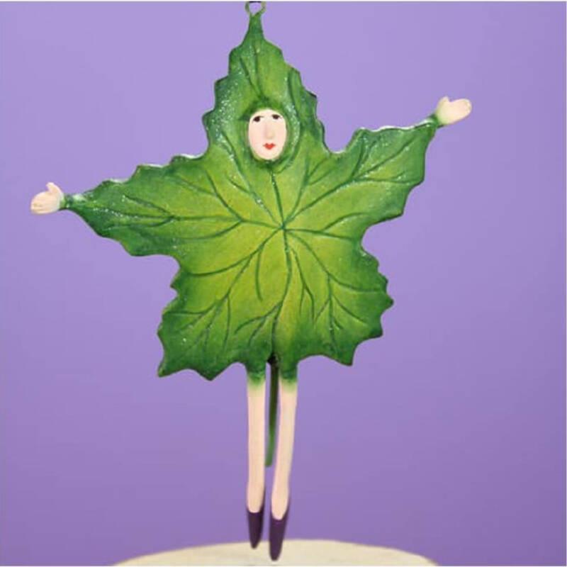 Ludibrium-Krinkles - Halloween - Mini grünes fallendes Blatt Ornament