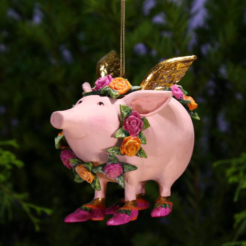 Ludibrium-Krinkles - Rose Flying Pig Ornament