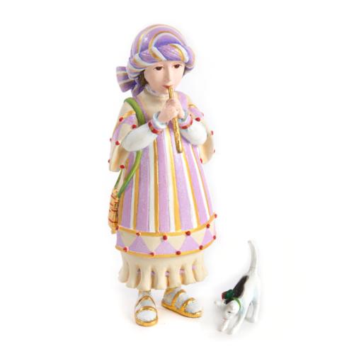 Ludibrium-Krinkles - Nativity Mini Figuren - Flöte spielendes Mädchen mit Kätzchen