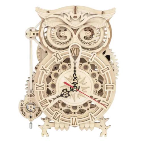 "Ludibrium-ROKR - ""Eulen"" Uhr - mechanisches Holzmodell"
