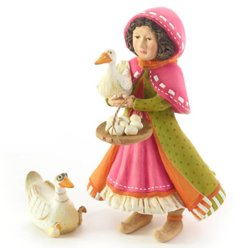 Ludibrium-Krinkles - Nativity Mini Figuren - Mädchen mit Ente und Gans