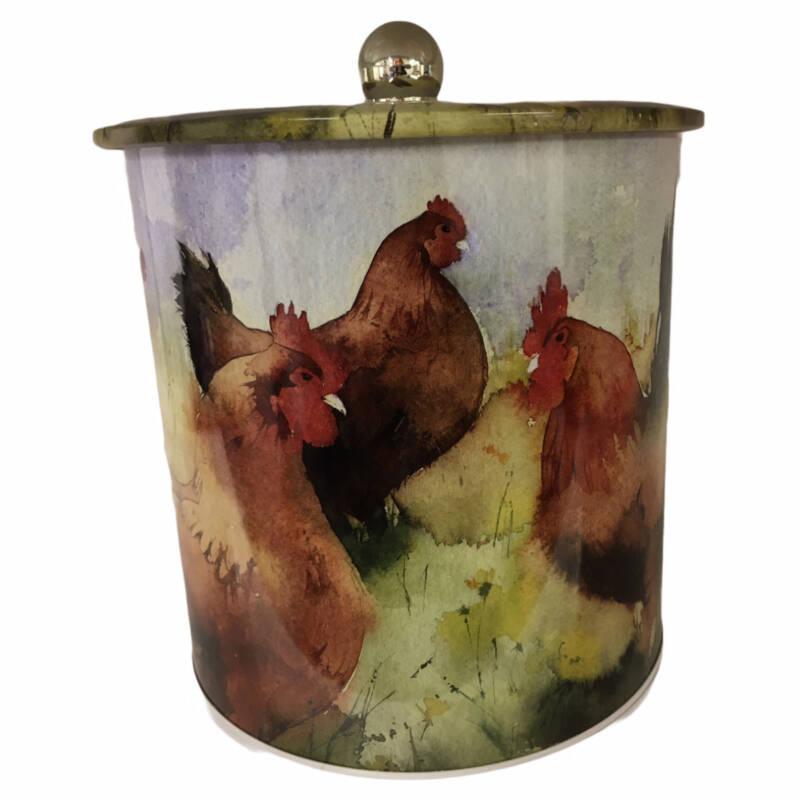 Ludibrium-Osterdeko - Knopfdose Motiv Hühner von Kate Osborne