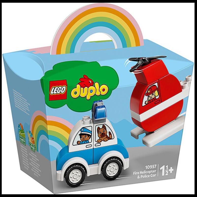 Ludibrium-LEGO Duplo 10957 - mein erster Feuerwehrhubschrauber und mein erstes Polizeiauto - Klemmbausteine