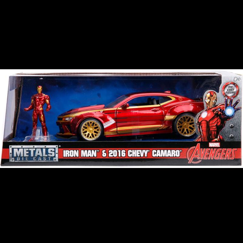 Ludibrium-Jada - Chevy Camaro SS 2016 mit einer Marvel Ironman Figur 1:24