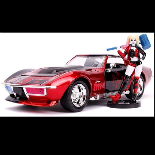 """Ludibrium-Jada - Chevrolet Corvette Stingray 1969 mit einer """"Harley Quinn"""" DC Comics Figur 1:24"""