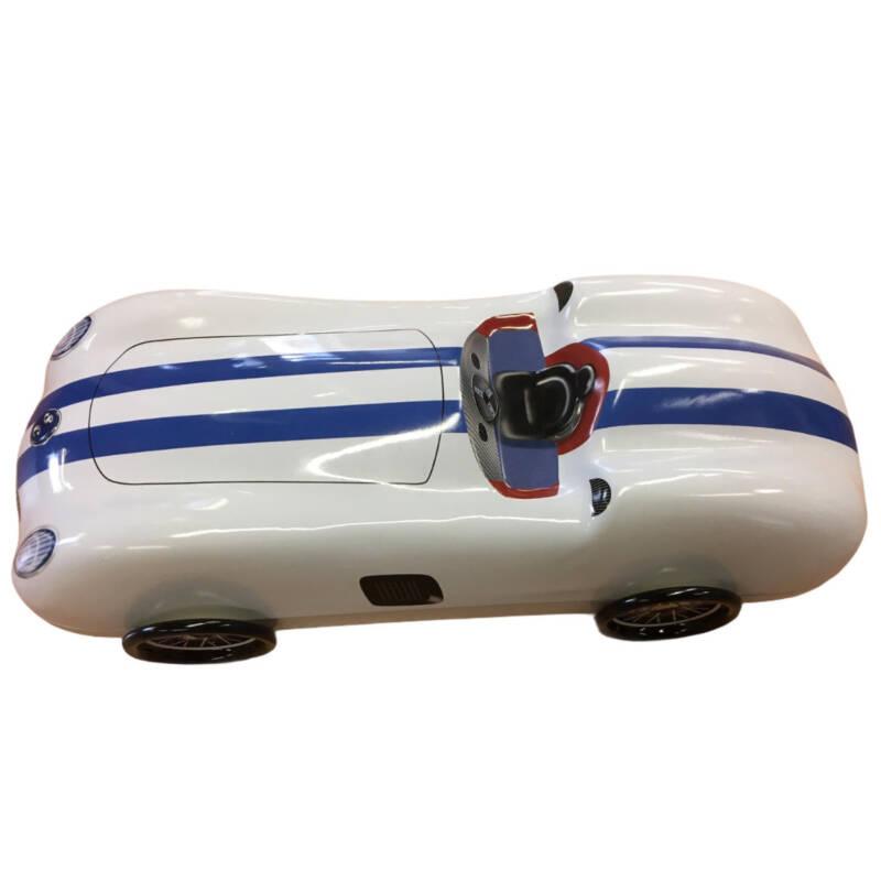 Ludibrium-Blechdose - Oldtimer Rennwagen weiss mit blauen Streifen