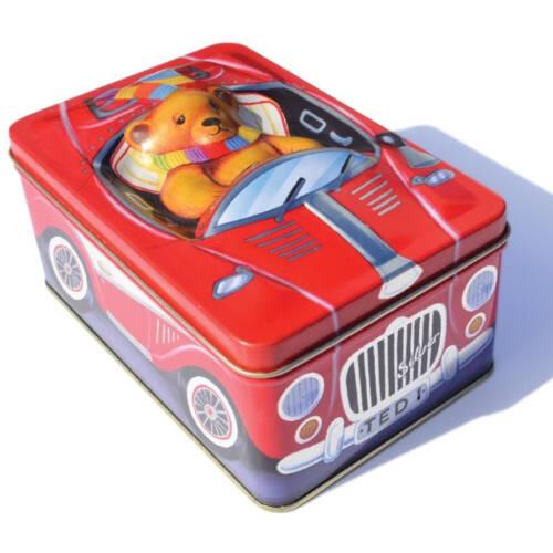 """Ludibrium-Blechdose - kleiner Teddybär im roten Oldtimer mit Schild """"TED 1"""""""