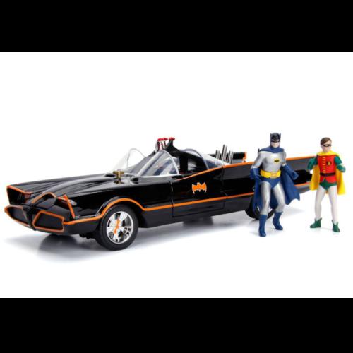 Ludibrium-Jada - Batman Diecast Modell 1966 Batmobile mit Leuchtfunktionen mit Batman und Robin Figuren, 1:18