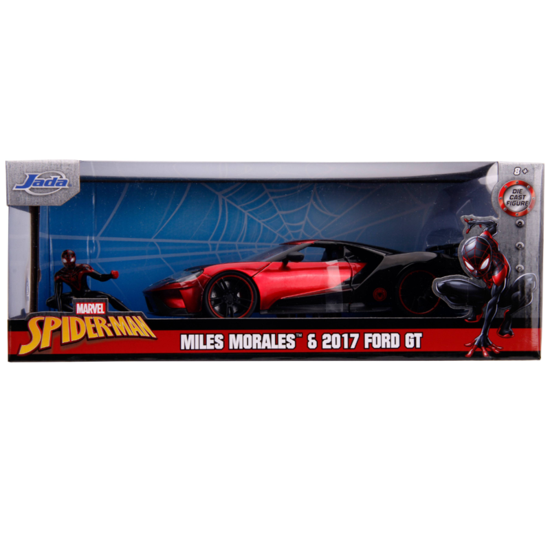 Ludibrium-Jada - Marvel Hollywood Rides Diecast Modell 2017 Ford GT mit Miles Morales Movie Figur Spiderman, 1:24