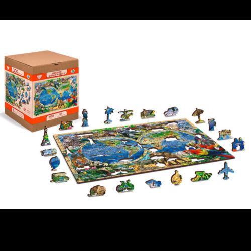 """Ludibrium-Wooden.City - Holzpuzzle 2 in 1 """"Karte Königreich der Tiere"""" - 150 Teile"""